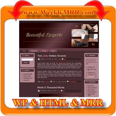 Product picture Beautiful Lingerie WordPress Theme and HTML Site with MRR