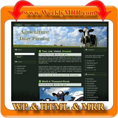 Product picture Dairy Farming WordPress Theme and HTML Site with MRR
